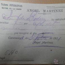 Cartas comerciales: FOTOGRAFIA TALLER FOTOGRÁFICO ANGEL MARTÍNEZ CARAVACA DE LA CRUZ MURCIA 1921. Lote 52692759
