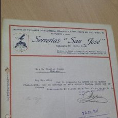 Cartas comerciales: SERRERÍA SAN JOSE CARAVACA DE LA CRUZ A PUEBLA DE DON FADRIQUE MURCIA 1941 . Lote 52692229