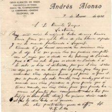 Cartas comerciales: ANDRÉS ALONSO. GRAN ALMACÉN DE VINOS. MARCA EL CAMPECHANO VINO OVIEDO. FIRMA PROPIETARIO. ASTURIAS.. Lote 52730416
