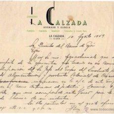 Cartas comerciales: LA CALZADA. PASTELERIA, RESPOSTERIA, BOMBONES, CARAMELOS. GIJÓN.. Lote 52854299