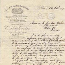 Cartas comerciales: ANTIGUA CARTA FACTURA DE PARIS A FARMACIA GALVAN OVIEDO ASTURIAS. PRECIOSOS SELLOS. 1907. Lote 52932874