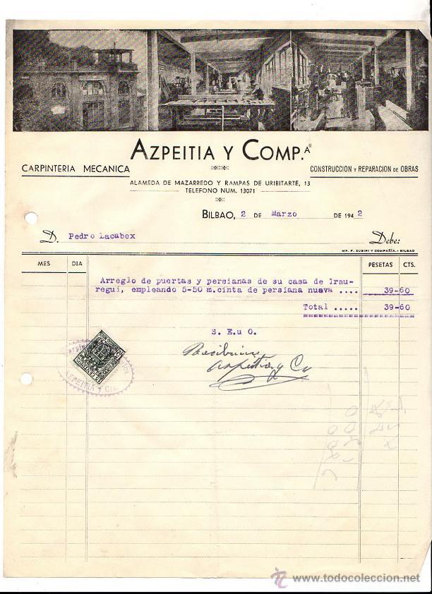 carta hoja de pedido carpinteria azpeitia y compaia bilbao ao 1942 coleccionismo