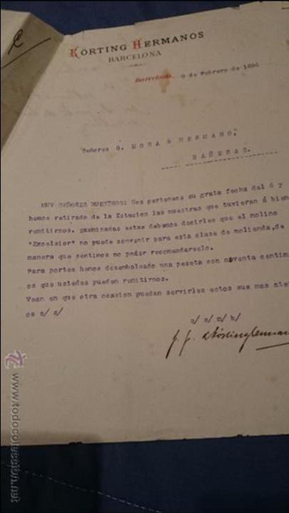 KORTING HERMANOS, BARCELONA, 1896 CARTA COMERCIAL (Coleccionismo - Documentos - Cartas Comerciales)