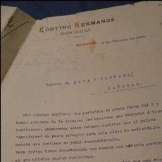 Cartas comerciales: KORTING HERMANOS, BARCELONA, 1896 CARTA COMERCIAL. Lote 53092925