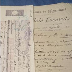 Cartas comerciales: G. SOLÁ ESCAYOLA, BARCELONA 1896, MAQUINARIA PARA MOLINOS DE HARINA, CARTA+LETRA DE CAMBIO. Lote 53092983