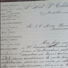 Cartas comerciales: MURCIA, 1895, J.ANTONIO P. CELDRAN, GRANDES DEPOSITOS DE CAFÉS, AZUCARES.... Lote 53100852