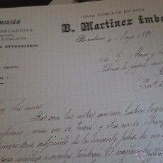 Cartas comerciales: BARCELONA, 1895, B. MARTINEZ IMBERT, CASA DE COMISIONES, GRANOS HARINAS, CALDOS.... Lote 53111213