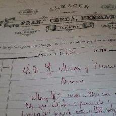 Cartas comerciales: ALICANTE, 1896, FRANCISCO CERDÁ, ALMACEN VINOS AGUARDIENTES, LICORES Y ACEITES,ESPLANADA,5. Lote 53111227