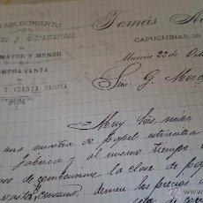 Cartas comerciales: MURCIA, 1895, C/ CAPUCHINAS, 39, TOMÁS ACOSTA, COLONIALES Y ULTRAMARINOS . Lote 53111229