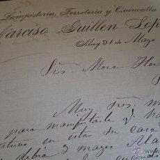 Cartas comerciales: ALCOY, 1896, NARCISO GUILLEN LOPEZ, LAMPISTERIA, FERRETERIA Y QUINCALLA. Lote 53111240
