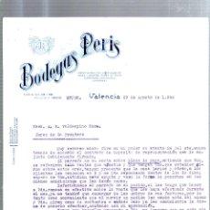 Cartas comerciales: CARTA COMERCIAL. BODEGAS PERIS. VALENCIA. AGOSTO 1940. VINOS FINOS, ACEITES, LICORES.. Lote 53133129