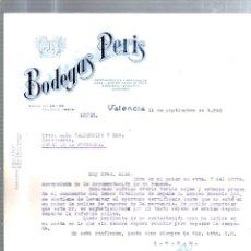 Cartas comerciales: CARTA COMERCIAL. BODEGAS PERIS. VALENCIA. AGOSTO 1940. VINOS FINOS, ACEITES, LICORES.. Lote 53133137