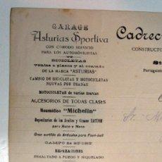 Cartas comerciales: ANTIGUA FACTURA. BICICLETA ASTURIAS. MICHELIN. GARAGE ASTURIAS SPORTIVA. OVIEDO. 1918 CARTA COMERCIO. Lote 53465424