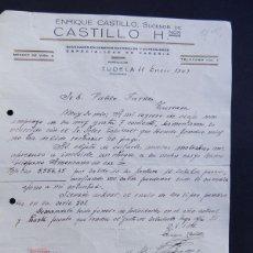 Lettres commerciales: ENRIQUE CASTILLO - SUCESOR DE CASTILLO HNOS. / PAÑERIA / TUDELA 1947 / NAVARRA. Lote 53635144