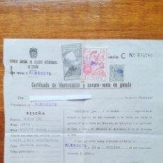 Cartas comerciales: CERTIFICADO DE IDENTIFICACION Y COMPRA VENTA DE GANADO. 1951. Lote 53726699