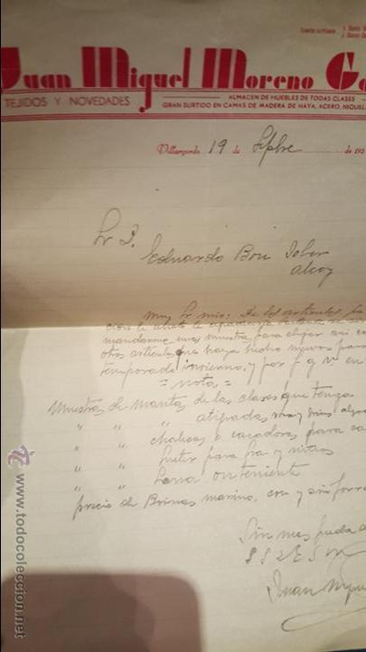 JUAN MIGUEL MORENO GARCIA, CARTA COMERCIAL, VIRGARGORDO, A ALCOY, 1937, TEJIDOS Y NOVEDADES, (Coleccionismo - Documentos - Cartas Comerciales)