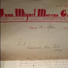 Cartas comerciales: JUAN MIGUEL MORENO GARCIA, CARTA COMERCIAL, VIRGARGORDO, A ALCOY, 1937, TEJIDOS Y NOVEDADES, . Lote 53755524