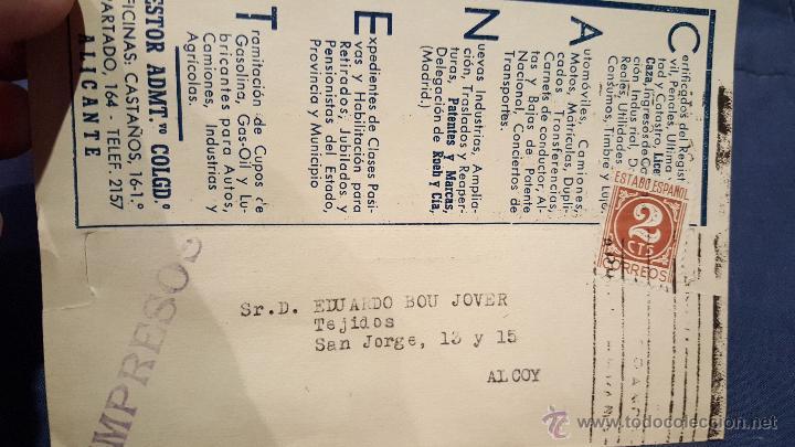 CANET, GESTOR ADMINISTRATIVO COLEGIADO, ALICANTE, A ALCOY, (Coleccionismo - Documentos - Cartas Comerciales)