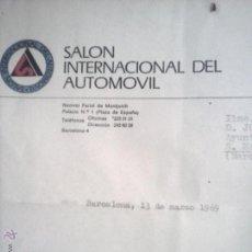 Cartas comerciales: CARTA SALÓN INTERNACIONAL DEL AUTOMÓVIL , 1969 .. Lote 53948696