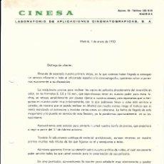 Cartas comerciales: CARTA COMERCIAL Y TARIFA DE PRECIOS DE CINESA, AZCONA 36 DE MADRID, ENERO 1970. Lote 54001408