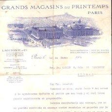 Cartas comerciales: CARTA COMERCIAL GRANDS MAGASINS DU PRINTEMPS. PARIS. AÑO 1914. Lote 54032067