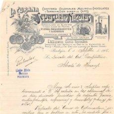 Cartas comerciales: AÑO 1906-BADAJOZ- SEBASTIÁN NICOLÁS. Lote 54051680