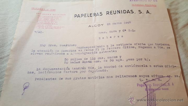 PAPELERAS REUNIDAS, ALCOY, CARTA COMERCIAL, 1947 (Coleccionismo - Documentos - Cartas Comerciales)