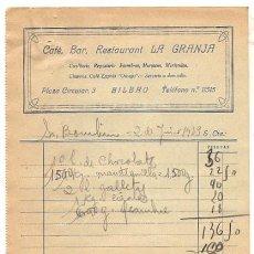 Cartas comerciales: FACTURA COMERCIAL CAFE BAR LA GRANJA. BILBAO. AÑO 1939. Lote 54224842