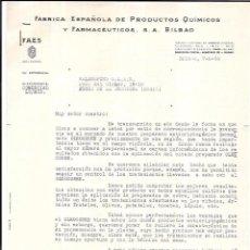 Cartas comerciales: CARTA COMERCIAL, FÁBRICA ESPAÑOLA DE PRODUCTOS QUÍMICOS Y FARMACÉUTICOS, S.A. BILBAO. 1958.. Lote 54264845