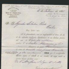 Cartas comerciales: CARTA COMERCIAL DE FELIPE PACHECO. AGENCIA GENERAL DE CLASES PASIVAS DE CUBA. HABANA. CUBA. 1888. Lote 54693864