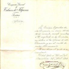 Cartas comerciales: BARCELONA - COMUNICADO COMPAÑÍA GENERAL DE TABACOS DE FILIPINAS - SECRETARÍA - AÑO 1902. Lote 54713070