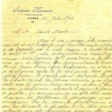Cartas comerciales: JIJONA (ALICANTE) - CARTA CON CABECERA DE ANTONIO MONERRIS, PROCURADOR - AÑO 1904. Lote 55351752