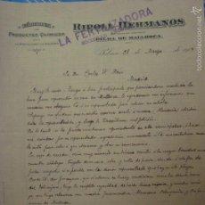 Cartas comerciales: FABRICA DE PRODUCTOS QUÍMOCOS RIPOLL HERMANOS. PALMA DE MALLORCA. 1914.. Lote 55358864