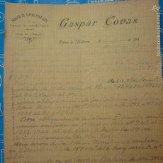 Cartas comerciales: CARTA COMERCIAL. GASPAR COVAS. FÁBRICA DE PASTAS PARA SOPAS. PALMA DE MALLORCA, 189?. Lote 55358893