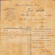 Cartas comerciales: CARTA COMERCIAL DE AGENCIA DE ADUANAS JOSÉ SALA DE PORTBOU-GIRONA- ---1902---. Lote 55369357