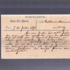 Lettere commerciali: MEMORANDUM. DANIEL MACPHERSON. CADIZ. 1893. Lote 55898468