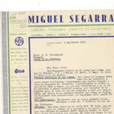 Cartas comerciales: CARTA COMERCIAL. MIGUEL SEGARRA, AGENTE COMERCIAL, LIBRERIA ,PAPELERIA, JAEN, 1950.. Lote 56332994