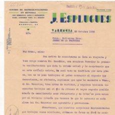 Cartas comerciales: CARTA COMERCIAL. J. ESPLUGUES, CENTRO DE REPRESENTACIONES EN GENERAL, VALENCIA, 1932.. Lote 56335508