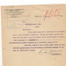 Lettres commerciales: CARTA COMERCIAL. CAFE COLON Y ANEXOS, S.A., PASEO DE LA REFORMA, MEXICO, 1922.. Lote 56335693