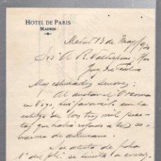 Cartas comerciales: CARTA COMERCIAL. HOTEL DE PARIS. MADRID. 1920. MANUSCRITA. Lote 56627876