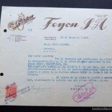 Cartas comerciales: CARTA COMERCIAL / FEYCU S.A. / VALENCIA 1946. Lote 262678960