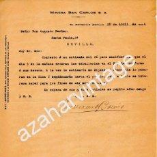 Cartas comerciales: EL RONQUILLO, SEVILLA, 1924, CARTA CON MEMBRETE MINERA SAN CARLOS,S.A., MUY RARA. Lote 56639560