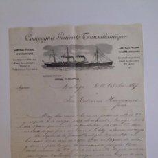 Cartas comerciales: COMPAGNIE GÉNÉRALE TRANSATLANTIQUE. MÁLAGA AÑO 1897.. Lote 56686096