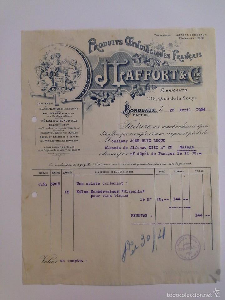 J. LAFFORT & CIE. BORDEAUX 1924. JOSÉ RUIZ LUQUE MÁLAGA. (Coleccionismo - Documentos - Cartas Comerciales)