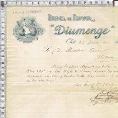Cartas comerciales: CARTA COMERCIAL PAPEL DE FUMAR DIUMENGE OLOT 1908.. Lote 56700114