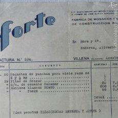 Cartas comerciales: CARTA COMERCIAL FORTE VILLENA, FÁBRICA DE MOSAICOS Y MATERIALES DE CONSTRUCCIÓN PARA OBRAS 1940. Lote 56921535