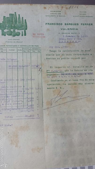 CARTA COMERCIAL FRANCISCO BARGUES FERRER -MANUEL VALENCIA-1940 FÁBRICA DE FUNDAS BOLSAS Y ESTERILLAS (Coleccionismo - Documentos - Cartas Comerciales)