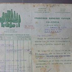 Cartas comerciales: CARTA COMERCIAL FRANCISCO BARGUES FERRER -MANUEL VALENCIA-1940 FÁBRICA DE FUNDAS BOLSAS Y ESTERILLAS. Lote 56921677