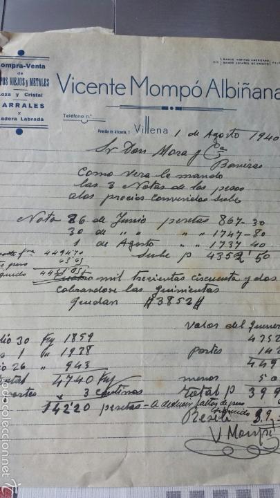 CARTA COMERCIAL VICENTE MOMPÓ ALBIÑANA- TRAPOS VIEJOS Y METALES VILLENA 1940 (Coleccionismo - Documentos - Cartas Comerciales)