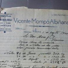 Cartas comerciales: CARTA COMERCIAL VICENTE MOMPÓ ALBIÑANA- TRAPOS VIEJOS Y METALES VILLENA 1940. Lote 56921988